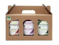 3-er Geschenkset 700 g bestehend aus: Sauerkraut gewürzt & gekocht, Sauerkraut mit Speck und Blaukraut (3 Gläser zu je 700 g)