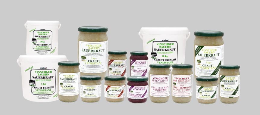 Die Produktfamilie Vinschger Bauern Sauerkraut